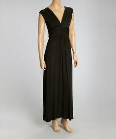 Love this Modern Touch Black Twist V-Neck Maxi Dress by Modern Touch on #zulily! #zulilyfinds