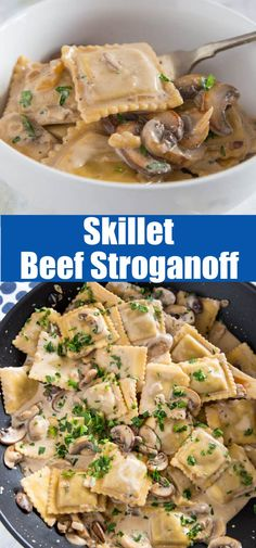 This skillet beef stroganoffis a quick and easy weeknight meal. All you need is one pan and 20 minutes! Yummy Pasta Recipes, Entree Recipes, Delicious Dinner Recipes, Bean Recipes, Cooking Recipes, Skillet Recipes, Savoury Recipes, Yummy Food, Chicken And Beef Recipe