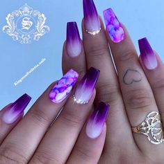 purple nail designs 30 Gorgeous Matte Purple Nails Design You May Try in Prom Long Nail Designs - Water Purple Acrylic Nails, Blue Nail, Summer Acrylic Nails, Best Acrylic Nails, Matte Nails, Violet Nails, Purple Nail Art, Purple Ombre Nails, Black Nails