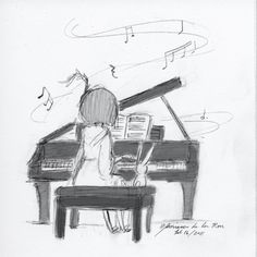 pencil drawing of my persona at the piano... and a friend Art by Mariesa de la Rosa