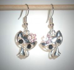 Ohrringe Katze rosa Blume mit Edelstahl Ohrhänger Ohrschmuck Damen Neuware