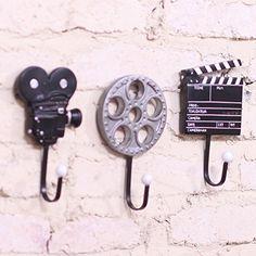 Duolaimi Retro Film Equipment Disign Decorative Wall Coat Hooks or Hanging Coats / Bag / Keys Set of 3: Amazon.co.uk: Kitchen & Home