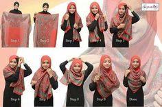 Square shawl Hijab Tutorial