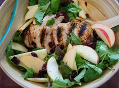 CHICKEN and APPLE SALAD   This salad makes for a quick, easy and very healthy lunch idea. Feel better about indulging in those holiday pies and baked goods after eating this dish.