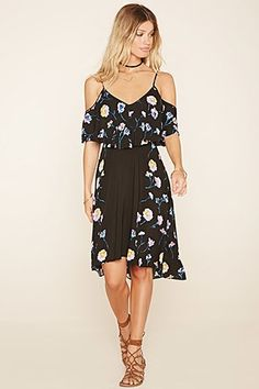 Floral Flounce-Layered Dress