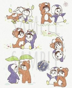 Chibi penguin kyungsoo and kai beae Kaisoo, Kyungsoo, Chanbaek, Kim Jongin, Exo Cartoon, Cartoon Images, Chibi, Exo Anime, Exo Couple