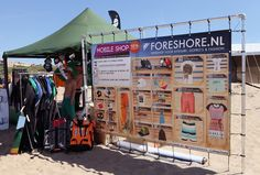 Our first client to go live with a QR Code store was Foreshore, a webshop selling kite surf equipment, clothing and apparel.    This shop was built on a 3x2 meter poster during a big kite surf event in The Netherlands.