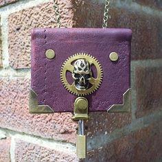 leather bound steampunk lockable notebook by johnnythescavenger, £15.00