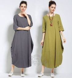 Anysize lantern style with side pockets soft linen&cotton loose dress Spring Summer Fall dress plus size dress plus size clothing – Hijab Fashion 2020 Modest Dresses, Plus Size Dresses, Plus Size Outfits, Casual Dresses, Halter Dresses, Floral Dresses, Cotton Dresses, Muslim Fashion, Modest Fashion