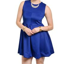 Plus+Size+Sleeveless+Fit+Flare+Box+Pleat+Dress