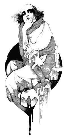 Graphic arts by Alexey Kurbatov, via Behance #illustration #black #white #drawing