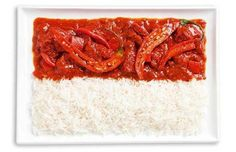 indonesia flag made from food/Spicy curries and rice (Sambal)