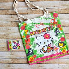 Canvas HELLO KITTY Hawaiian Tote Jungle Animals Zoo Vacation Bag w Wallet Sanrio #HelloKitty #ShoulderBag