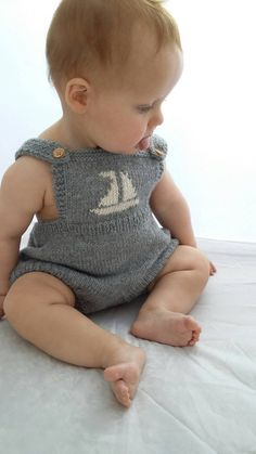 1950s Baby romper suit knitted onesie knitted in by Bobblehandmade