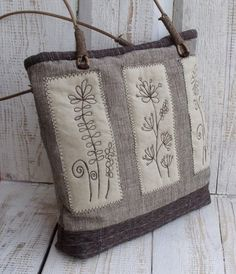 Brown and beige flowers embroidered shoulder bag by diohej on Etsy, $85.00