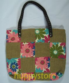 FASHION HIP TRENDY JUTE FABRIC SHOPPING DESIGNER TOTE BAG HANDBAG THAI THAILAND. A natural color,with silk screen designs,shopping bag shopper made from jute fabric.Jute is a kind of plant that its fiber can be made strings,ropes.Jute can also be woven to make jute fabric. The jute fabric has a different texture from cotton fabric, so jute bag gives different look and feel when carry.   Has 1 main pouch with a lining.The straps are PVC ones.It is a vegan bag ^_^. $24.90 FREE SHIPPING