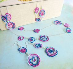 Jewellery Set - Pink, Blue and Turquoise Lace Rose Long Necklace, Bracelet and Earrings with Mint Czech Glass Beads and Pink Toho Beads Lace Jewelry, Jewellery, Unique Jewelry, Czech Glass Beads, Pink Blue, Crochet Necklace, Mint, Turquoise, Rose