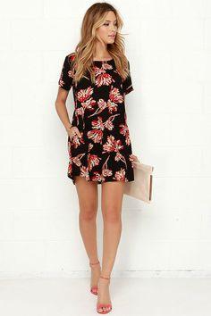 Obey Blythe Black Floral Print Dress at Lulus.com!