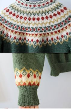 Vintage Nordic Green Wool Cardigan from Etsy. Fair Isle Knitting Patterns, Fair Isle Pattern, Knitting Charts, Knitting Yarn, Knit Patterns, Hand Knitting, Embroidery Patterns, Crochet Baby Dress Pattern, Knit Crochet