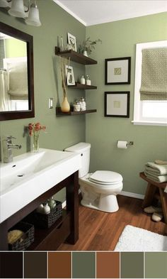 Small Bathroom Color Scheme Ideas – When considering the design plan of new homes and apartments, most modern day engineers tend to allow much more space in the bathroom than before. In reality people tend to spend much more time in bathrooms these days. Bathroom Makeovers On A Budget, Budget Bathroom, Bathroom Ideas, Bathroom Green, Brown Bathroom, Downstairs Bathroom, Bathroom Shelves, Bath Ideas, Bathroom Designs