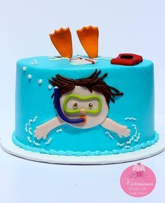I love this little pool cake. or swimming cake? Little boy swimming cake! Bolos Pool Party, Pool Party Cakes, Pool Parties, Kid Parties, Fondant Cakes, Cupcake Cakes, Fruit Cupcakes, Kid Cakes, Fondant Bow