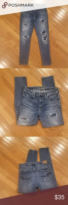 Distressed American Eagle Hi-Rise Jeggings Distressed American Eagle Hi-Rise Jeggings super stretch.  Like NEW condition. Size 12 American Eagle Outfitters Jeans