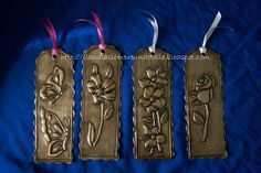 Metal embossed bookmarks                                                       … Metal Projects, Metal Crafts, Recycled Crafts, Craft Stick Crafts, Handmade Crafts, Embossing Stamp, Metal Embossing, Metal Stamping, Pewter Art