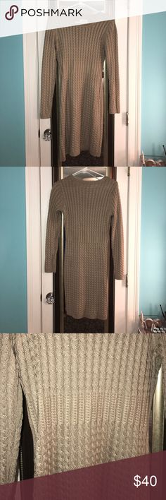 🐻CALVIN KLEIN knitted dress🐻 Sand colored knitted dress by Calvin Klein. I'm 5'2 and this is a size small, but it was too large. Super comfortable, worn once! Calvin Klein Dresses Long Sleeve