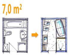 Badplanung Beispiel 7 qm Freistehend Badewanne mit WC-Bidet Kombination