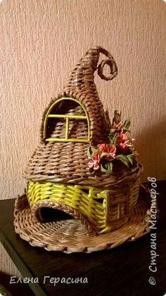 Поделка изделие Плетение Ещё один чайный домик Трубочки бумажные фото 1