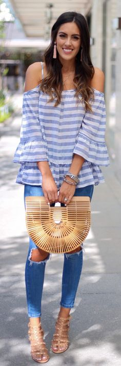 Striped Cold Shoulder Top + Destroyed Skinny Jeans + Wood Clutch