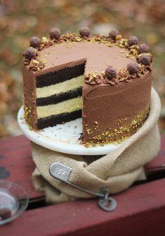 Black Truffle-Pistachio Chocolate Cake via Sprinkles Bakes #recipe