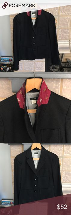 J.Crew Wool Blazer Classic J.Crew Black Wool Blazer with one of their signature twists: hidden color with dogs and ducks! Partially lined. EUC! Size 6, TTS. ~Price is Firm right now. Further discount 15% 3️⃣ bundled. ~Please no offers. I price fairly and in accordance to both Posh's shipping and seller fee. ~No modeling. I sell for me and 2 of my friends. Mostly everything I sell is now too small for my post-prego body, so I cannot model. Thanks! J. Crew Jackets & Coats Blazers