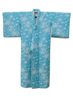 ☆ New Arrival☆ 'Spring Harmony' #lightblue #silk #vintage #Japanese #kimono with  #plum #flower from #FujiKimono http://www.fujikimono.co.uk/fabric-japanese/spring-harmony.html