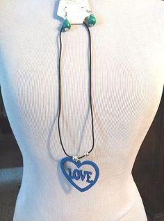 Womans Necklace & Earring Set Blue Heart Pendant Wood Carve Black Cord #Unbranded