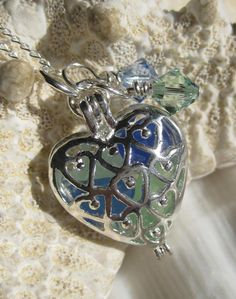 Sea Glass Necklace - Heart Seaglass Pendant - Sea Colored Seaglass. $17.00, via Etsy.