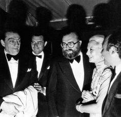 Luchino Visconti, Dirk Bogarde, Sergio Leone et Michèle Morgan au festival de Cannes 1971