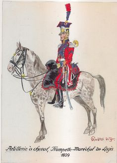 French; Horse Artillery, Trumpet Marechal des Logis, 1809 by H.Knotel