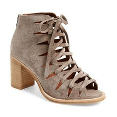 """Jeffrey Campbell 'Corwin' Open Toe Bootie, 3"""" heel (1 410 SEK) ❤ liked on Polyvore featuring shoes, boots, ankle booties, ankle boots, taupe suede, taupe booties, suede boots, suede ankle boots and taupe suede booties"""