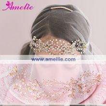 Envío libre del Color del oro boda de la novia flor Triple Crystal Loops tocados(China (Mainland))