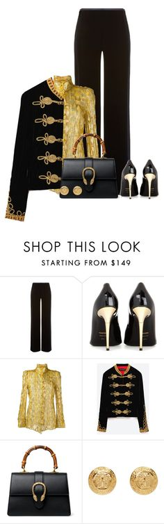 """""""All dressed in gold accents"""" by binkie211 ❤ liked on Polyvore featuring Armani Collezioni, Tom Ford, Roberto Cavalli, Gucci and Versace"""