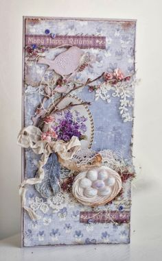 Shabby Chic violet easter / spring greetings card with birds nest. It's a work of art in my opinion