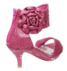Girls  Ankle Wrap High Heel Glitter Dress Sandals w  Flower Fuchsia Kids  Shoes in Clothing f7a68d7b3ffd
