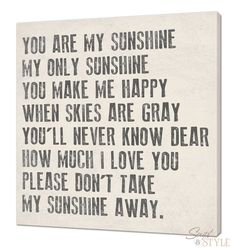 You Are My Sunshine Canvas Wall Art 24 x 24 Your by ScriptandStyle, $99.99