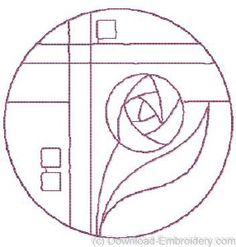 Art Nouveau rose line drawing for needlepoint or stained glass