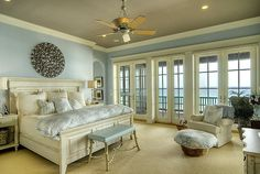 beach house Mstr bdr, love the wall color not to mention the gorgeous view