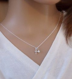 TINY cross necklace Girl's First Communion Goddaughter