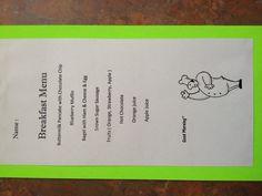 Sleepover birthday party idea : breakfast menu