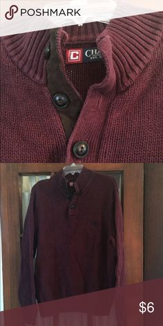 Men's Chaps Sweater Brown suede trim and Merlot colored. One of my faves but doesn't fit my BF anymore. EUC. Chaps Sweaters V-Neck
