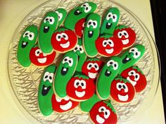 Check out these adorable cookies from pinner Jamie! Veggie Tales Birthday, Veggie Tales Party, Baby First Birthday, 3rd Birthday Parties, Birthday Fun, Birthday Ideas, Cookies For Kids, Fun Cookies, Decorated Cookies